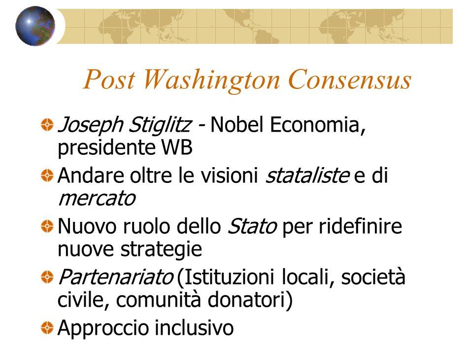 Post Washington Consensus Joseph Stiglitz - Nobel Economia, presidente WB Andare oltre le visioni stataliste e di mercato Nuovo ruolo dello Stato per