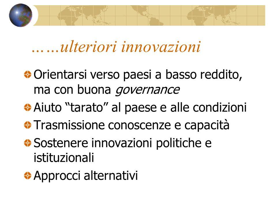 ……ulteriori innovazioni Orientarsi verso paesi a basso reddito, ma con buona governance Aiuto tarato al paese e alle condizioni Trasmissione conoscenz
