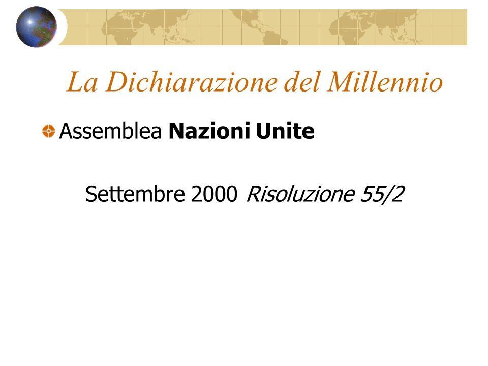 La Dichiarazione del Millennio Assemblea Nazioni Unite Settembre 2000 Risoluzione 55/2