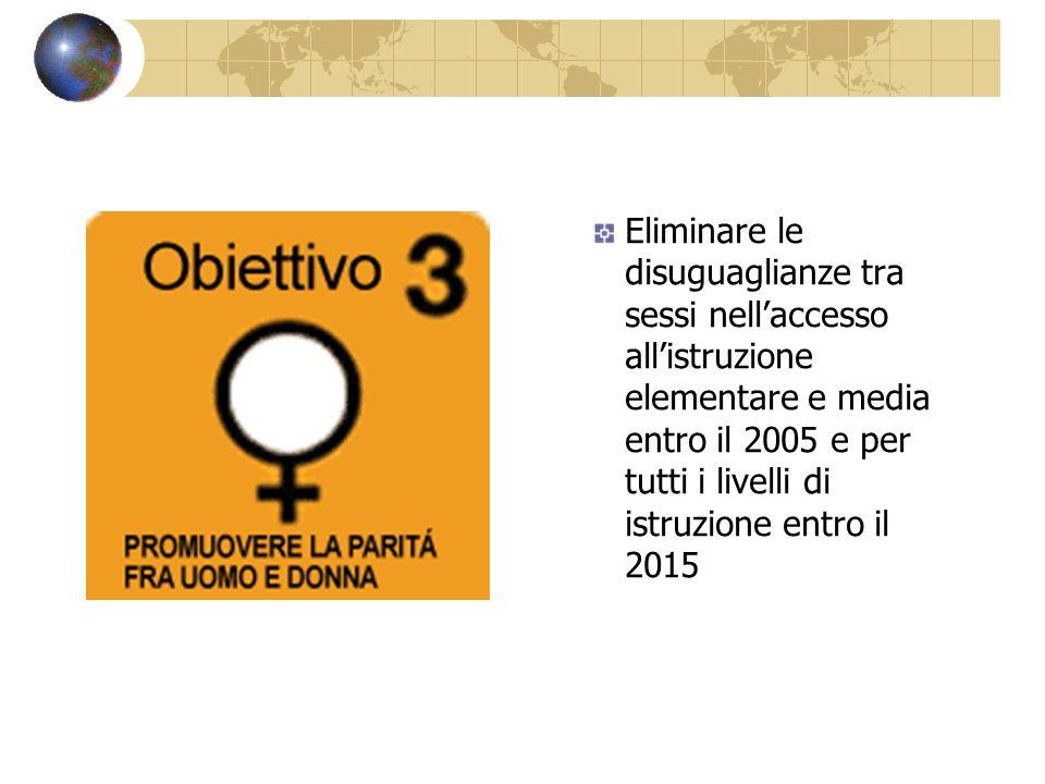 Eliminare le disuguaglianze tra sessi nellaccesso allistruzione elementare e media entro il 2005 e per tutti i livelli di istruzione entro il 2015