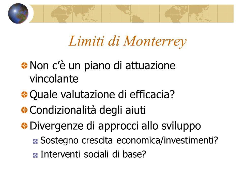 Limiti di Monterrey Non cè un piano di attuazione vincolante Quale valutazione di efficacia? Condizionalità degli aiuti Divergenze di approcci allo sv