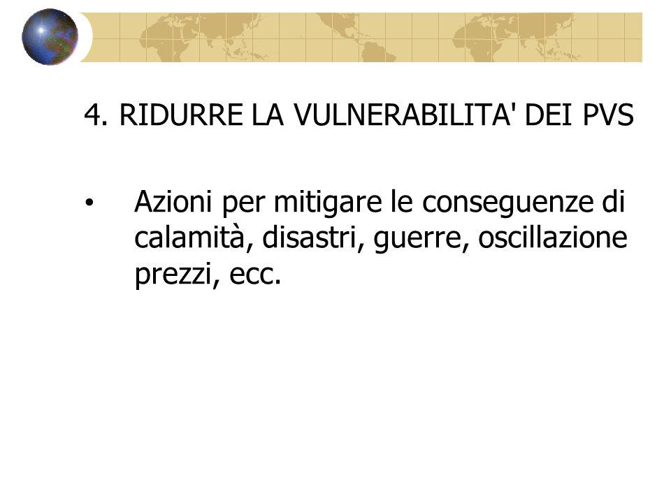 4. RIDURRE LA VULNERABILITA' DEI PVS Azioni per mitigare le conseguenze di calamità, disastri, guerre, oscillazione prezzi, ecc.