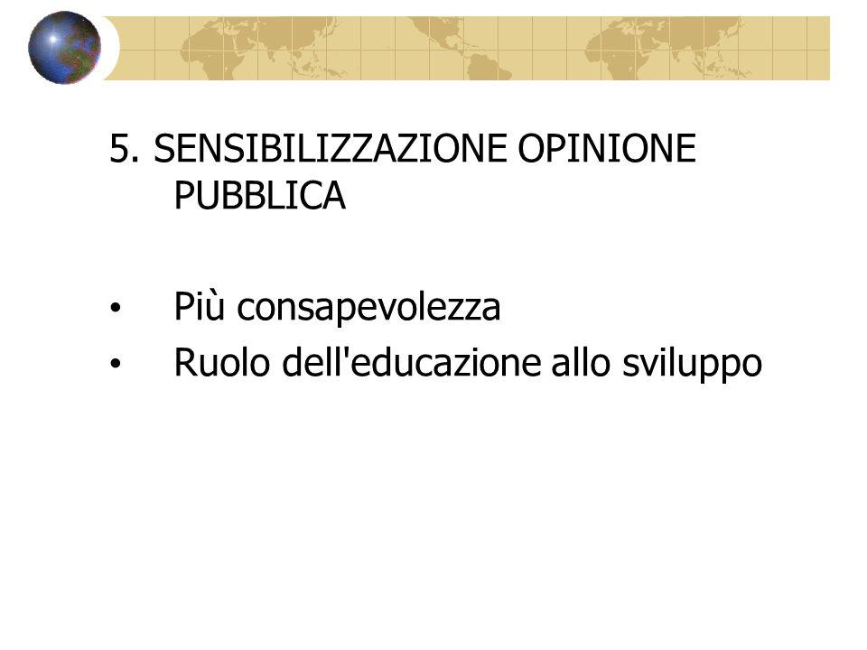 5. SENSIBILIZZAZIONE OPINIONE PUBBLICA Più consapevolezza Ruolo dell'educazione allo sviluppo