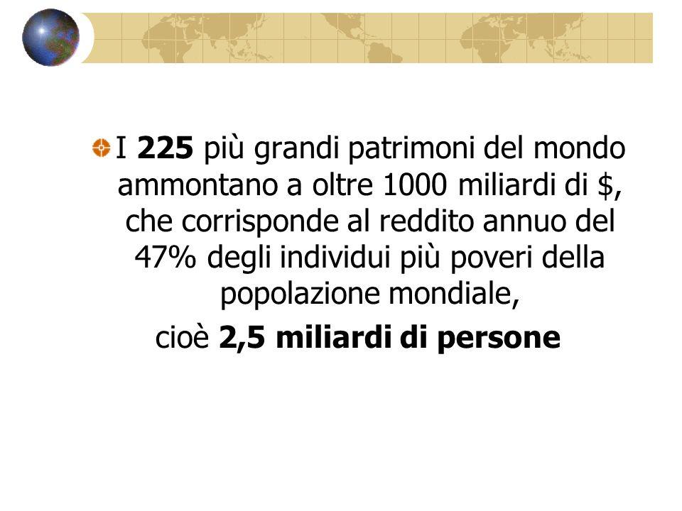 I 225 più grandi patrimoni del mondo ammontano a oltre 1000 miliardi di $, che corrisponde al reddito annuo del 47% degli individui più poveri della p