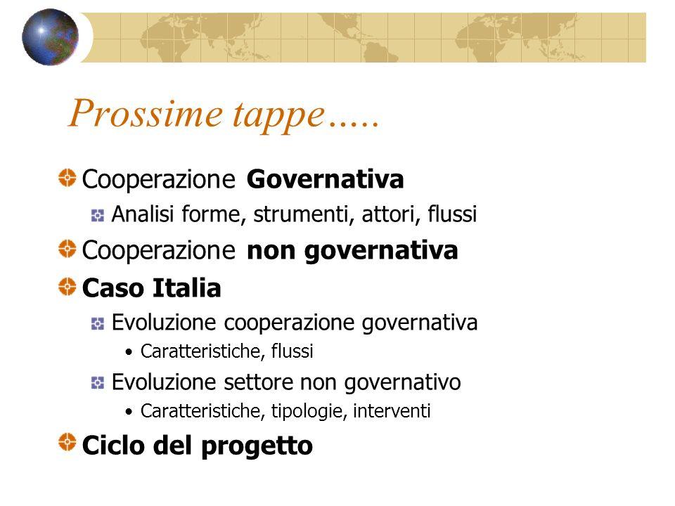 Prossime tappe….. Cooperazione Governativa Analisi forme, strumenti, attori, flussi Cooperazione non governativa Caso Italia Evoluzione cooperazione g