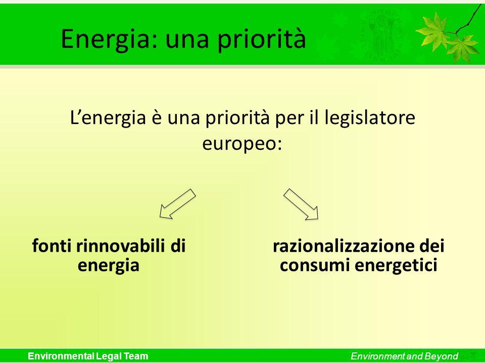 Environmental Legal TeamEnvironment and Beyond Energia: una priorità Lenergia è una priorità per il legislatore europeo: fonti rinnovabili di energia