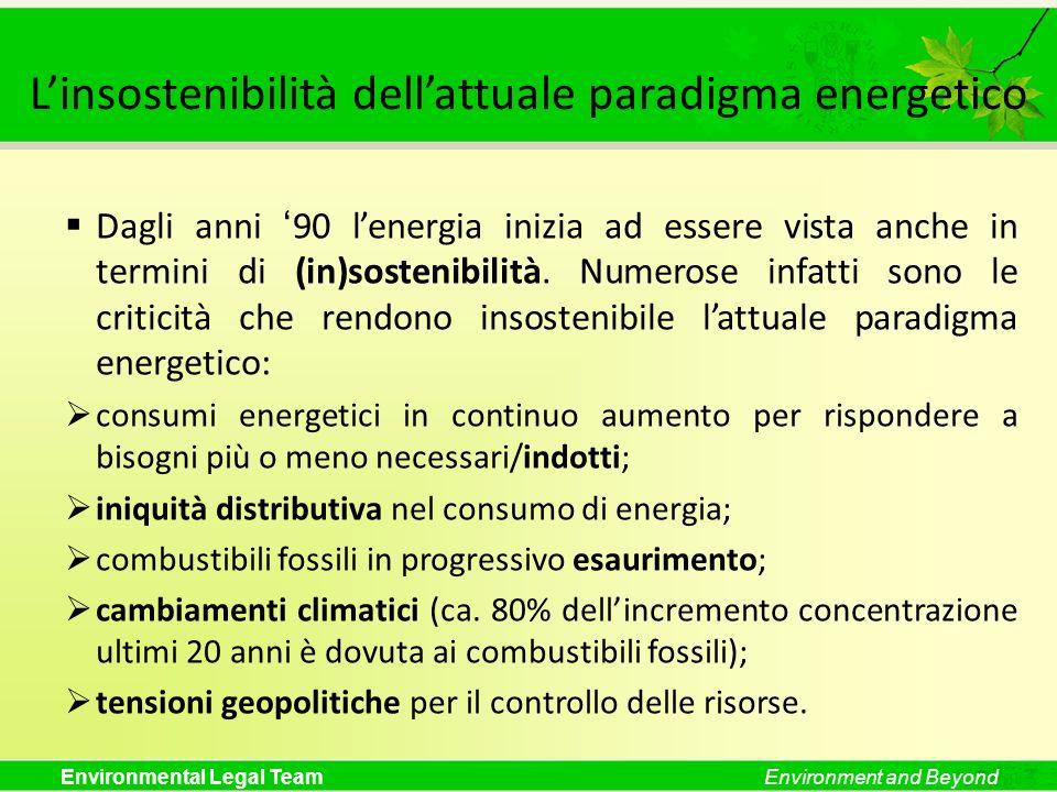 Environmental Legal TeamEnvironment and Beyond Linsostenibilità dellattuale paradigma energetico Dagli anni 90 lenergia inizia ad essere vista anche i