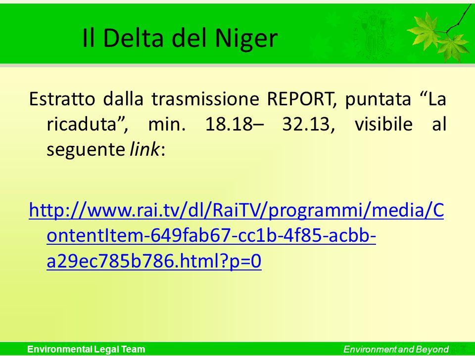 Environmental Legal TeamEnvironment and Beyond Il Delta del Niger Estratto dalla trasmissione REPORT, puntata La ricaduta, min. 18.18– 32.13, visibile