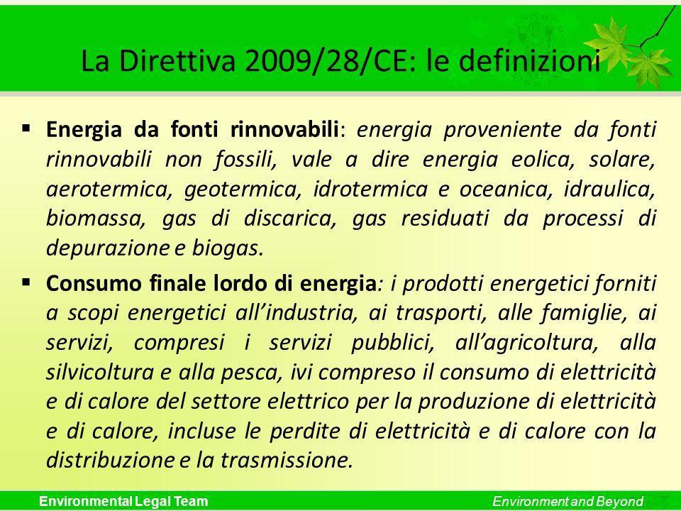 Environmental Legal TeamEnvironment and Beyond La Direttiva 2009/28/CE: le definizioni Energia da fonti rinnovabili: energia proveniente da fonti rinn