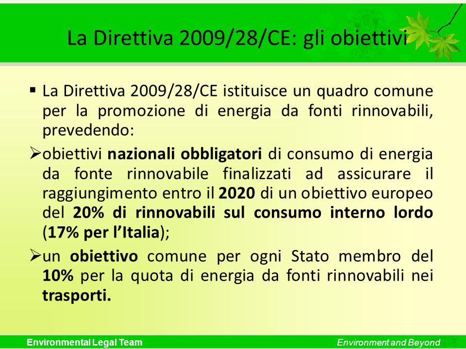Environmental Legal TeamEnvironment and Beyond La Direttiva 2009/28/CE: gli obiettivi La Direttiva 2009/28/CE istituisce un quadro comune per la promo