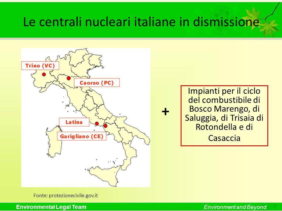 Environmental Legal TeamEnvironment and Beyond Le centrali nucleari italiane in dismissione Fonte: protezionecivile.gov.it Impianti per il ciclo del c