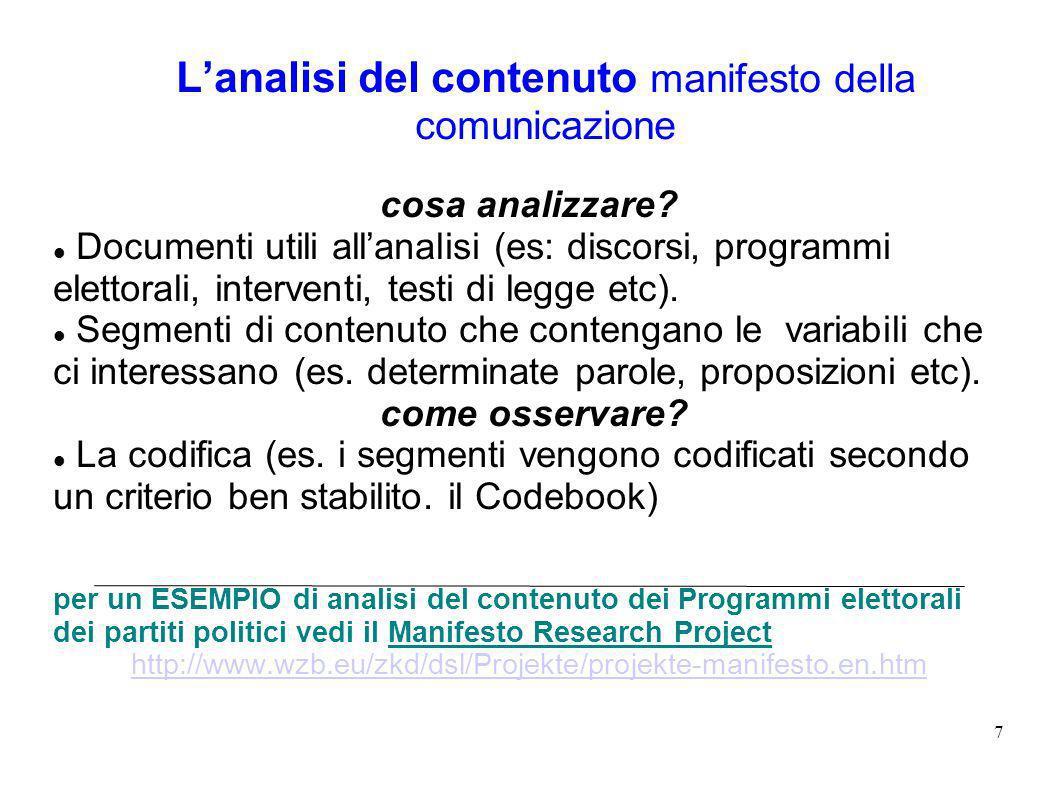 7 Lanalisi del contenuto manifesto della comunicazione cosa analizzare.