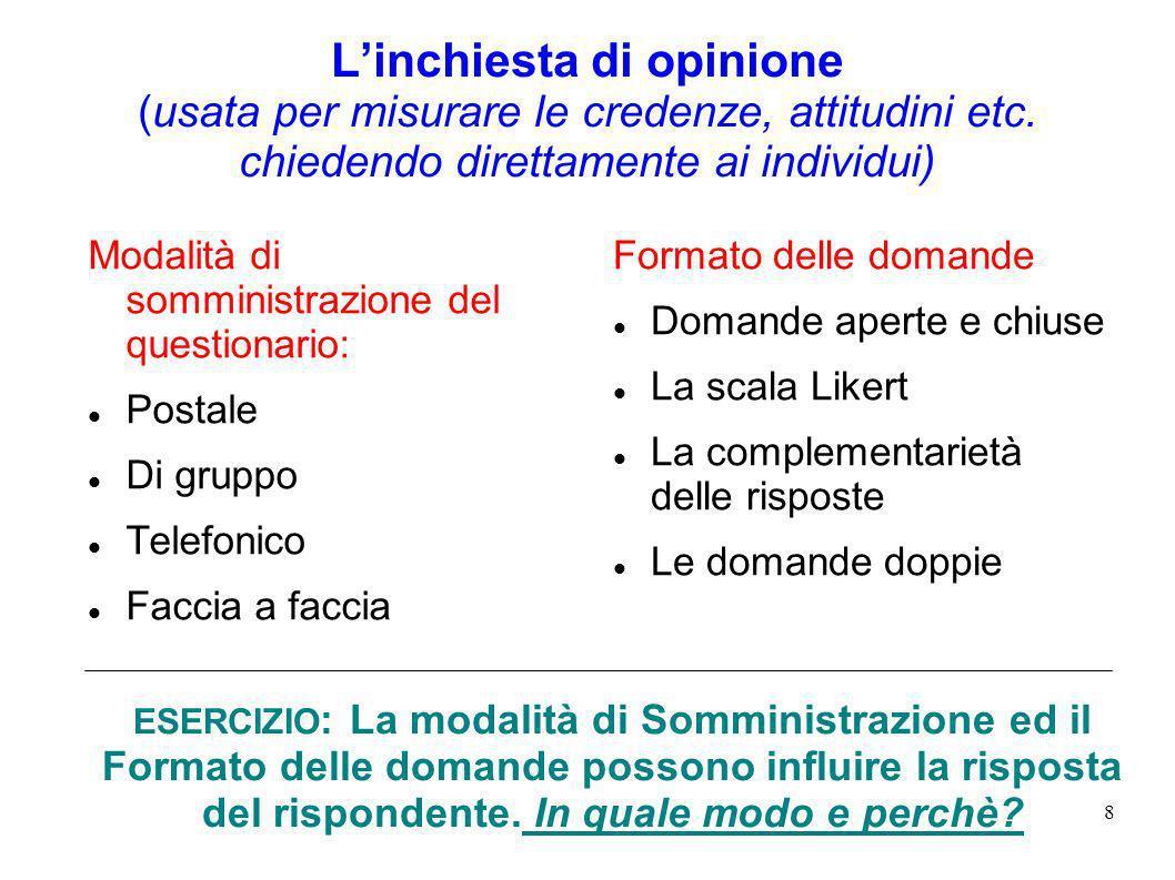 8 Linchiesta di opinione (usata per misurare le credenze, attitudini etc. chiedendo direttamente ai individui) Modalità di somministrazione del questi