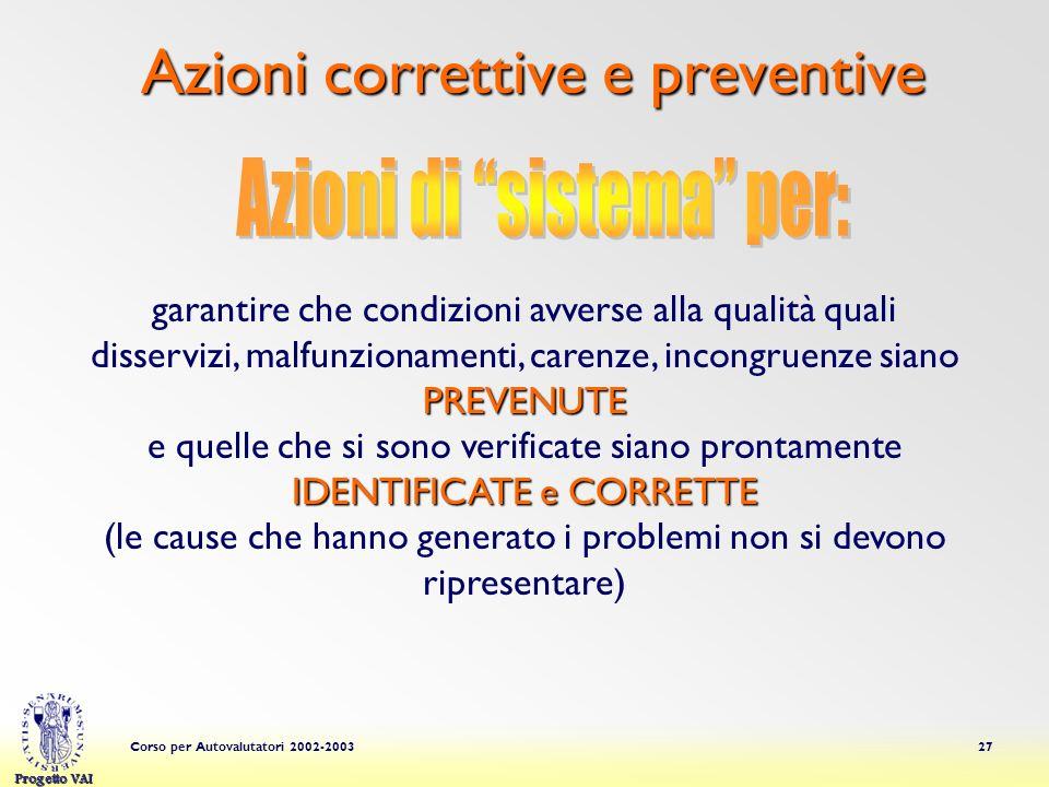 Progetto VAI Corso per Autovalutatori 2002-200327 Azioni correttive e preventive PREVENUTE garantire che condizioni avverse alla qualità quali disserv