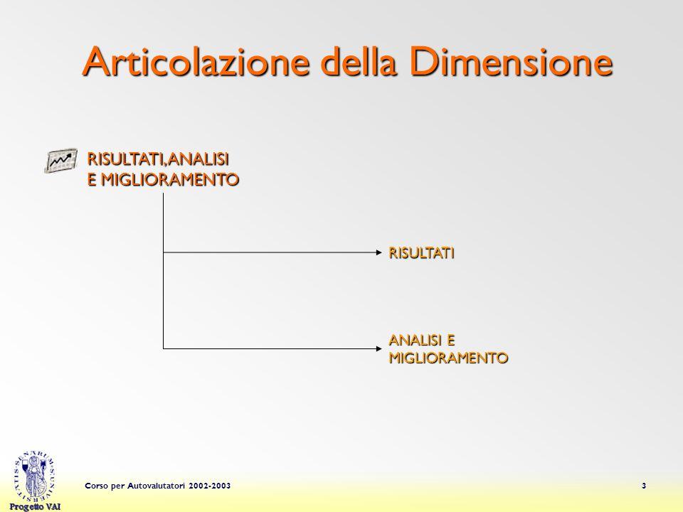 Progetto VAI Corso per Autovalutatori 2002-20033 Articolazione della Dimensione RISULTATI ANALISI E MIGLIORAMENTO RISULTATI, ANALISI E MIGLIORAMENTO