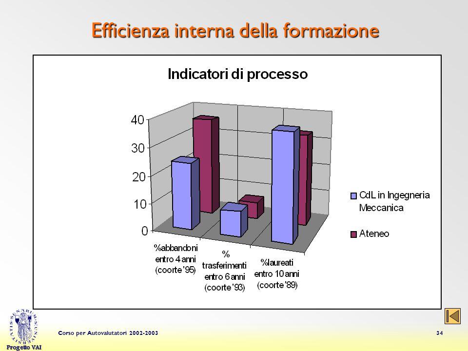 Progetto VAI Corso per Autovalutatori 2002-200334 Efficienza interna della formazione