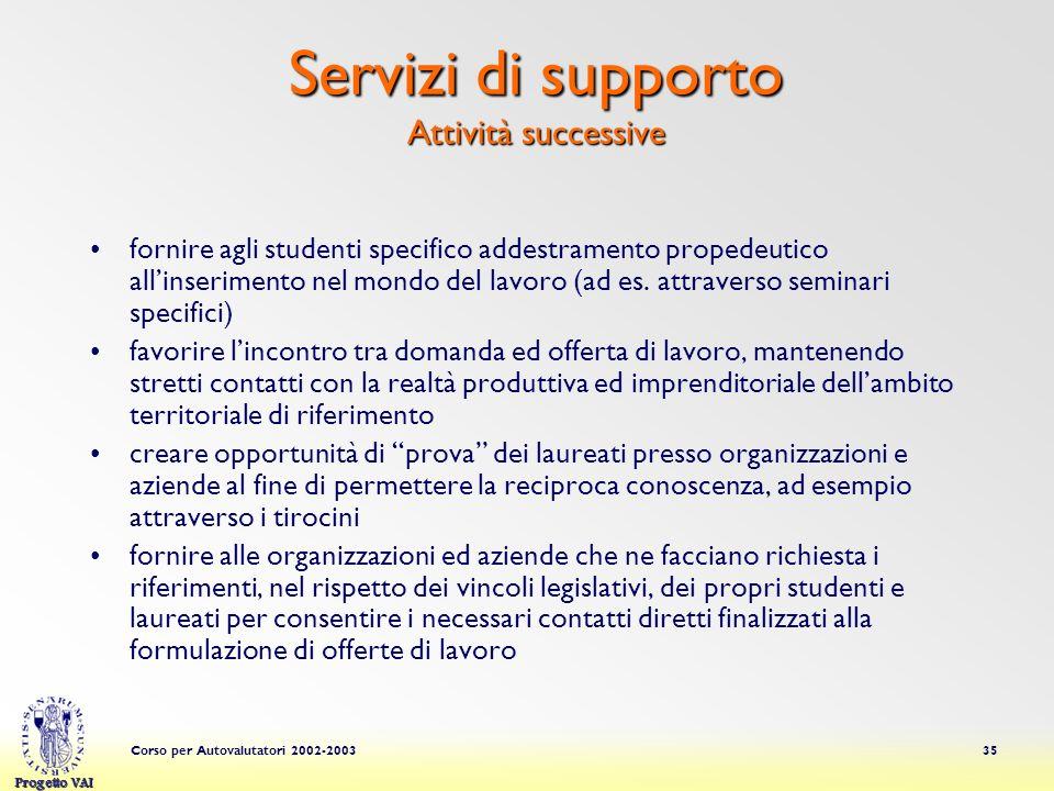Progetto VAI Corso per Autovalutatori 2002-200335 fornire agli studenti specifico addestramento propedeutico allinserimento nel mondo del lavoro (ad es.
