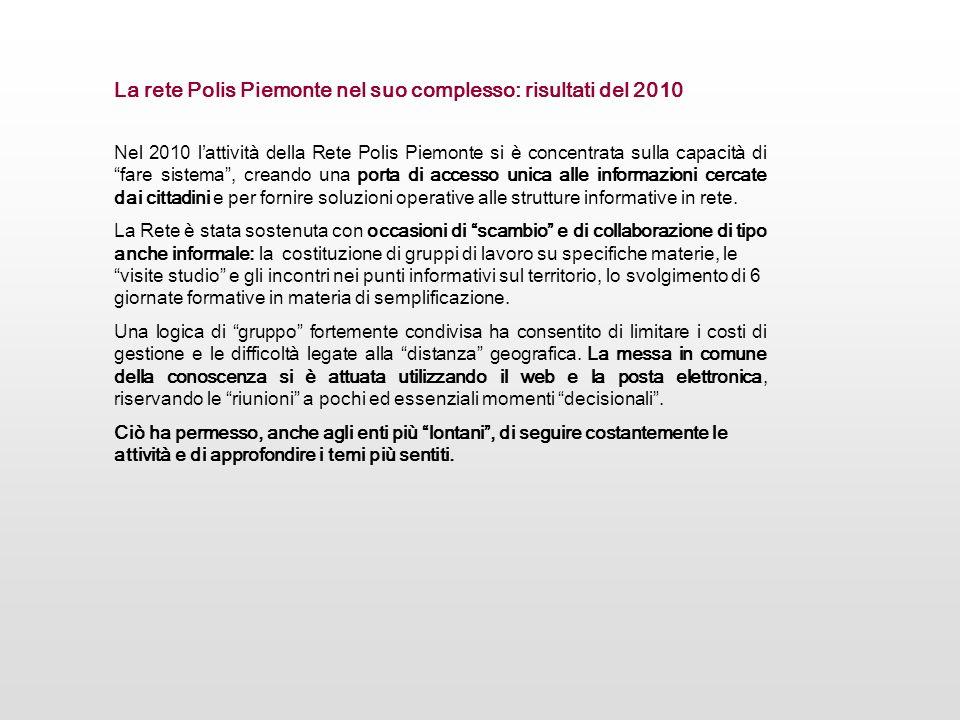 Nel 2010 lattività della Rete Polis Piemonte si è concentrata sulla capacità di fare sistema, creando una porta di accesso unica alle informazioni cer