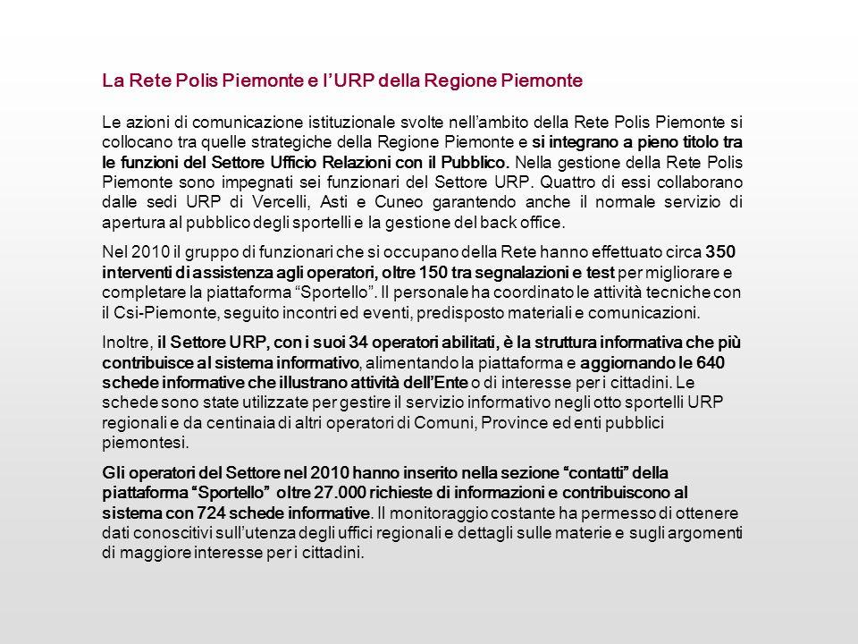 Le azioni di comunicazione istituzionale svolte nellambito della Rete Polis Piemonte si collocano tra quelle strategiche della Regione Piemonte e si i