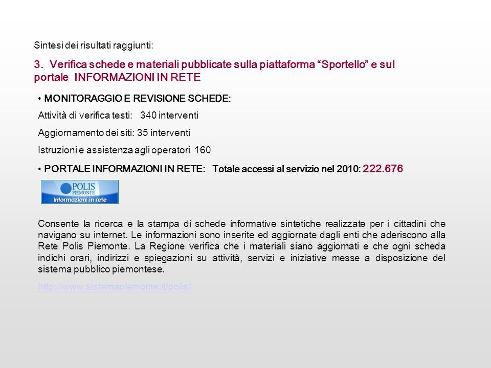 MONITORAGGIO E REVISIONE SCHEDE: Attività di verifica testi: 340 interventi Aggiornamento dei siti: 35 interventi Istruzioni e assistenza agli operato