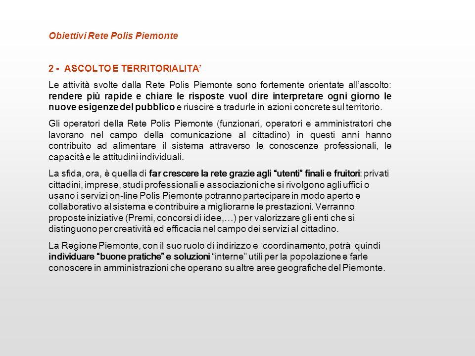 2 - ASCOLTO E TERRITORIALITA Le attività svolte dalla Rete Polis Piemonte sono fortemente orientate allascolto: rendere più rapide e chiare le rispost