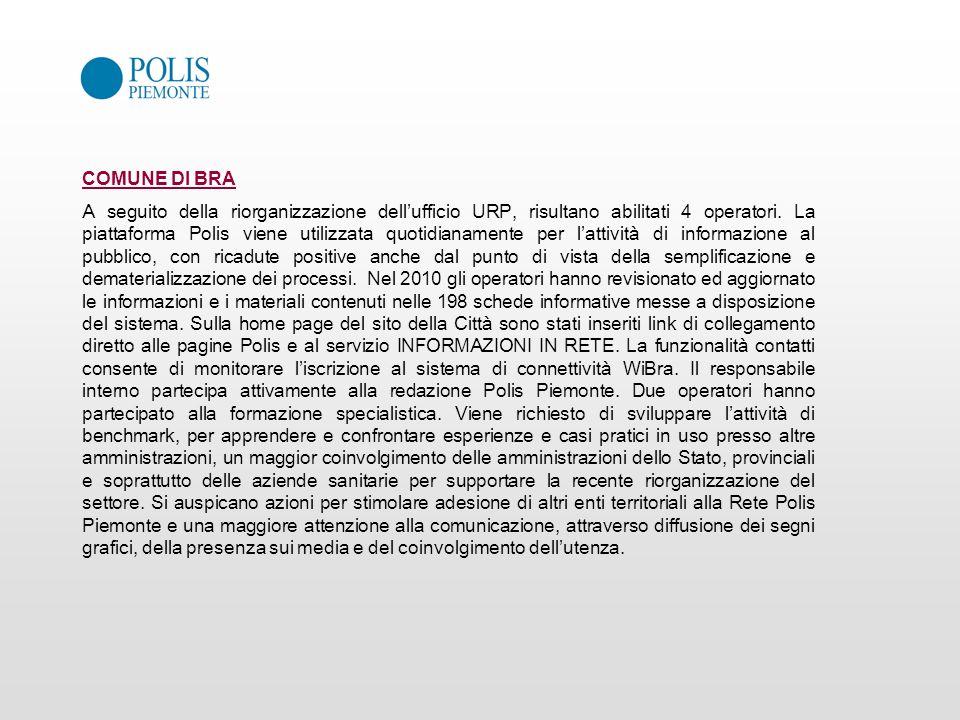 COMUNE DI BRA A seguito della riorganizzazione dellufficio URP, risultano abilitati 4 operatori. La piattaforma Polis viene utilizzata quotidianamente