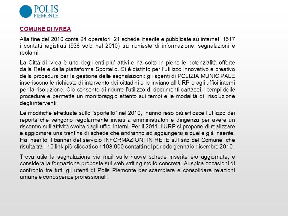 COMUNE DI IVREA Alla fine del 2010 conta 24 operatori, 21 schede inserite e pubblicate su internet, 1517 i contatti registrati (936 solo nel 2010) tra