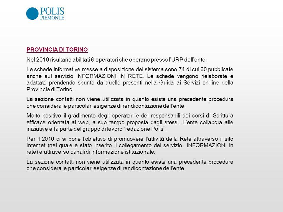 PROVINCIA DI TORINO Nel 2010 risultano abilitati 6 operatori che operano presso lURP dellente. Le schede informative messe a disposizione del sistema