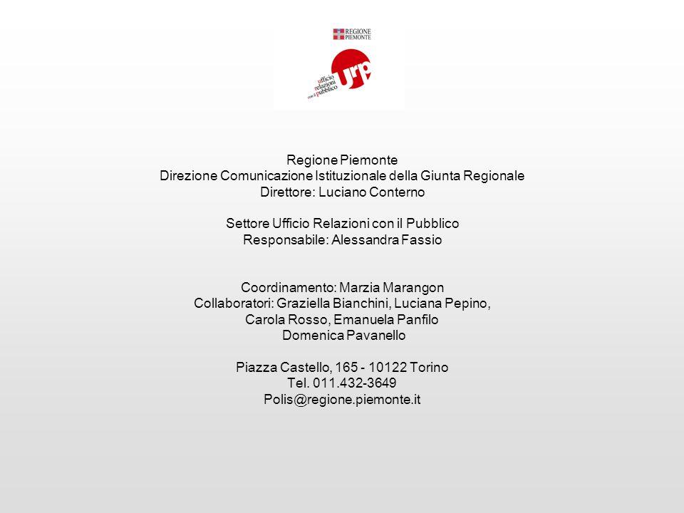 Regione Piemonte Direzione Comunicazione Istituzionale della Giunta Regionale Direttore: Luciano Conterno Settore Ufficio Relazioni con il Pubblico Re