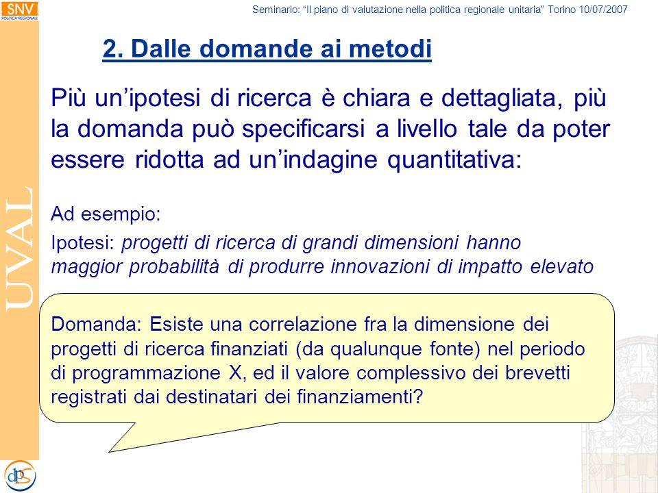 Seminario: Il piano di valutazione nella politica regionale unitaria Torino 10/07/2007 Più unipotesi di ricerca è chiara e dettagliata, più la domanda