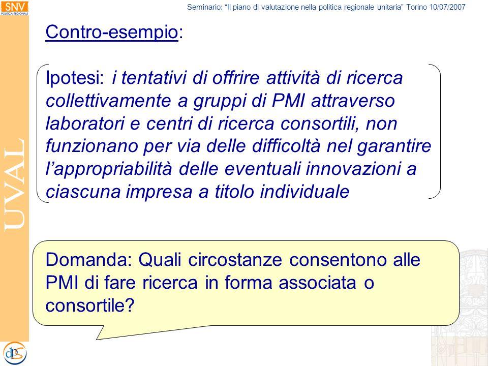 Seminario: Il piano di valutazione nella politica regionale unitaria Torino 10/07/2007 Contro-esempio: Ipotesi: i tentativi di offrire attività di ric