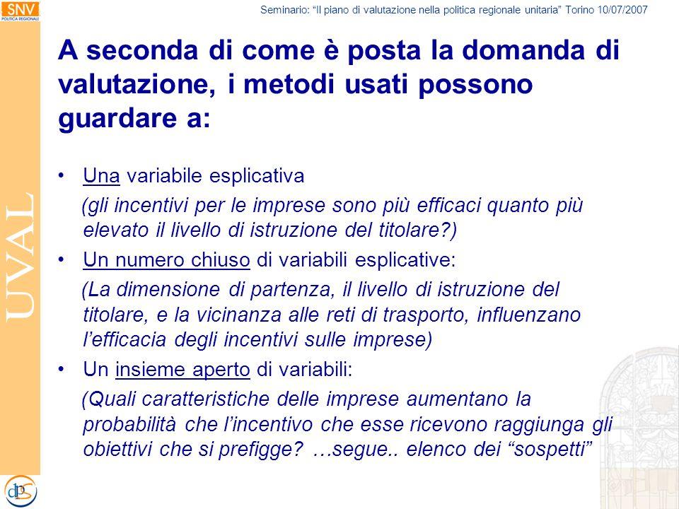 Seminario: Il piano di valutazione nella politica regionale unitaria Torino 10/07/2007 A seconda di come è posta la domanda di valutazione, i metodi u