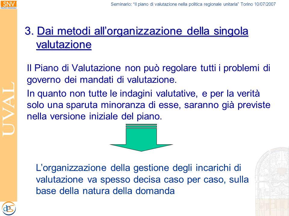 Seminario: Il piano di valutazione nella politica regionale unitaria Torino 10/07/2007 3. Dai metodi allorganizzazione della singola valutazione Il Pi