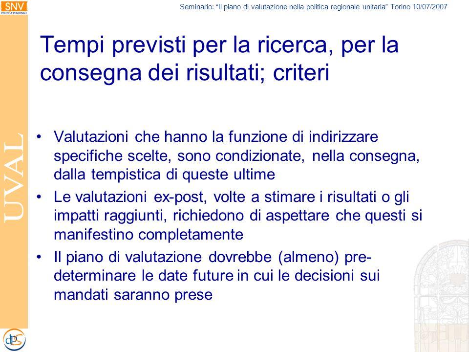 Seminario: Il piano di valutazione nella politica regionale unitaria Torino 10/07/2007 Tempi previsti per la ricerca, per la consegna dei risultati; c