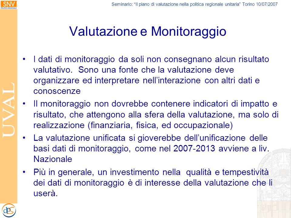 Seminario: Il piano di valutazione nella politica regionale unitaria Torino 10/07/2007 Valutazione e Monitoraggio I dati di monitoraggio da soli non c