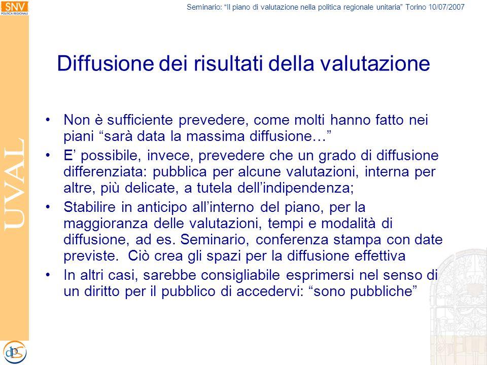 Seminario: Il piano di valutazione nella politica regionale unitaria Torino 10/07/2007 Diffusione dei risultati della valutazione Non è sufficiente pr