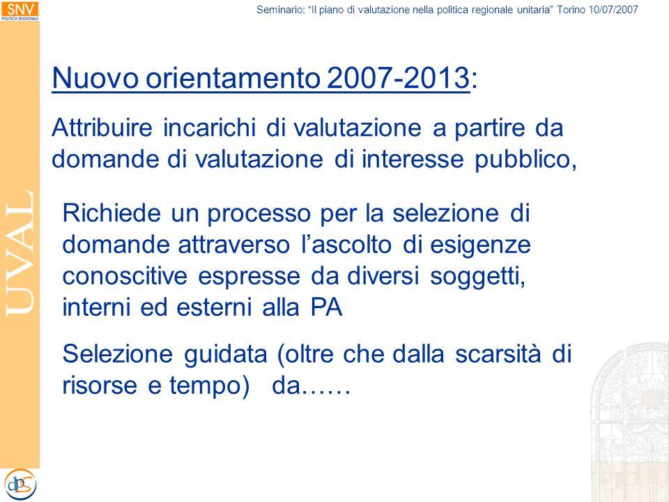 Seminario: Il piano di valutazione nella politica regionale unitaria Torino 10/07/2007 Nuovo orientamento 2007-2013: Attribuire incarichi di valutazio