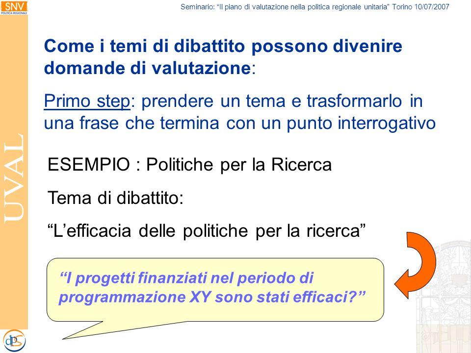 Seminario: Il piano di valutazione nella politica regionale unitaria Torino 10/07/2007 Come i temi di dibattito possono divenire domande di valutazion