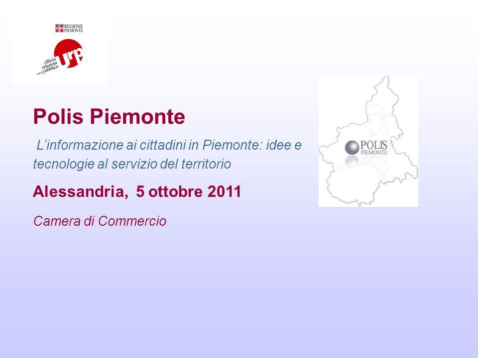 Polis Piemonte Linformazione ai cittadini in Piemonte: idee e tecnologie al servizio del territorio Alessandria, 5 ottobre 2011 Camera di Commercio