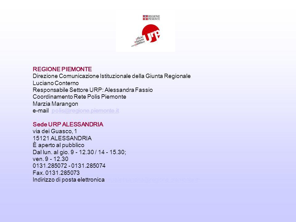 REGIONE PIEMONTE Direzione Comunicazione Istituzionale della Giunta Regionale Luciano Conterno Responsabile Settore URP: Alessandra Fassio Coordinamento Rete Polis Piemonte Marzia Marangon e-mail polis@regione.piemonte.itpolis@regione.piemonte.it Sede URP ALESSANDRIA via dei Guasco, 1 15121 ALESSANDRIA È aperto al pubblico Dal lun.