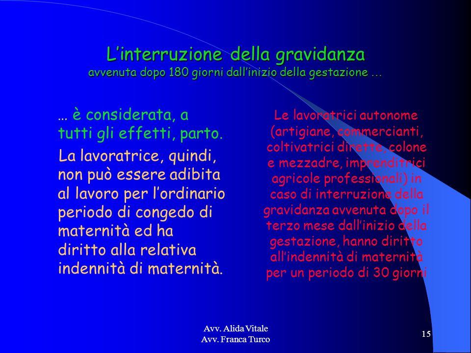 Avv. Alida Vitale Avv. Franca Turco 15 Linterruzione della gravidanza avvenuta dopo 180 giorni dallinizio della gestazione … … è considerata, a tutti