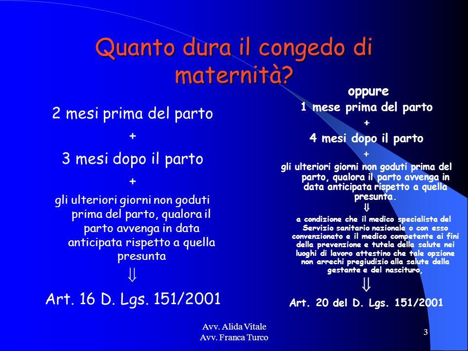 Avv. Alida Vitale Avv. Franca Turco 3 Quanto dura il congedo di maternità? 2 mesi prima del parto + 3 mesi dopo il parto + gli ulteriori giorni non go