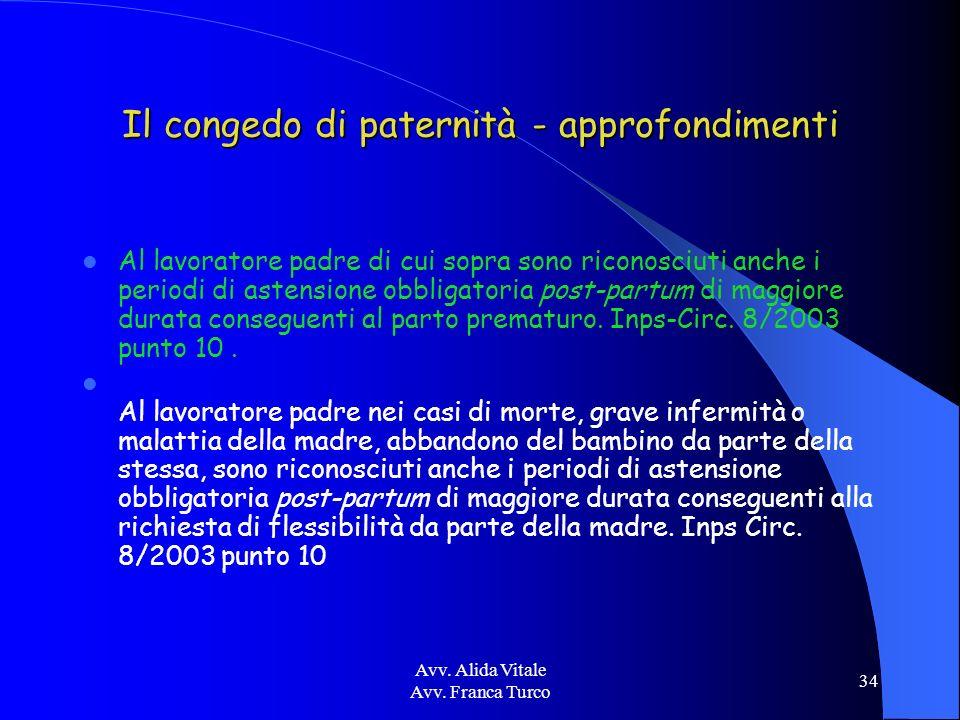 Avv. Alida Vitale Avv. Franca Turco 34 Il congedo di paternità - approfondimenti Al lavoratore padre di cui sopra sono riconosciuti anche i periodi di
