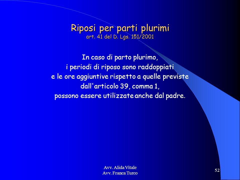 Avv. Alida Vitale Avv. Franca Turco 52 Riposi per parti plurimi art. 41 del D. Lgs. 151/2001 In caso di parto plurimo, i periodi di riposo sono raddop
