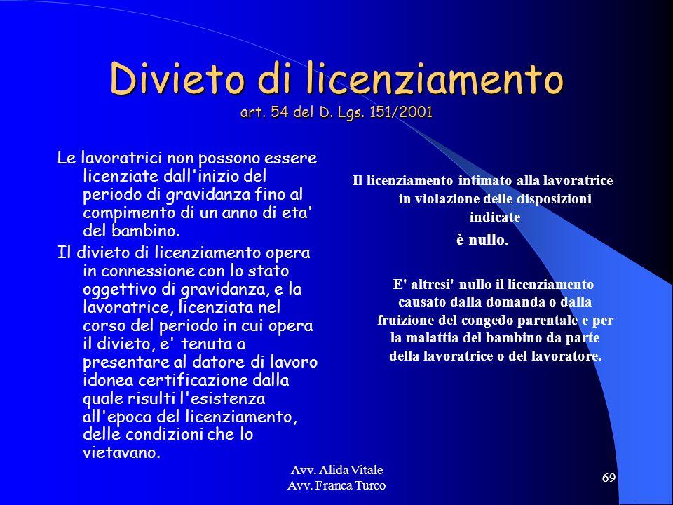 Avv. Alida Vitale Avv. Franca Turco 69 Divieto di licenziamento art. 54 del D. Lgs. 151/2001 Le lavoratrici non possono essere licenziate dall'inizio