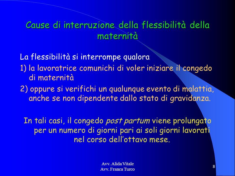 Avv. Alida Vitale Avv. Franca Turco 8 Cause di interruzione della flessibilità della maternità La flessibilità si interrompe qualora 1) la lavoratrice