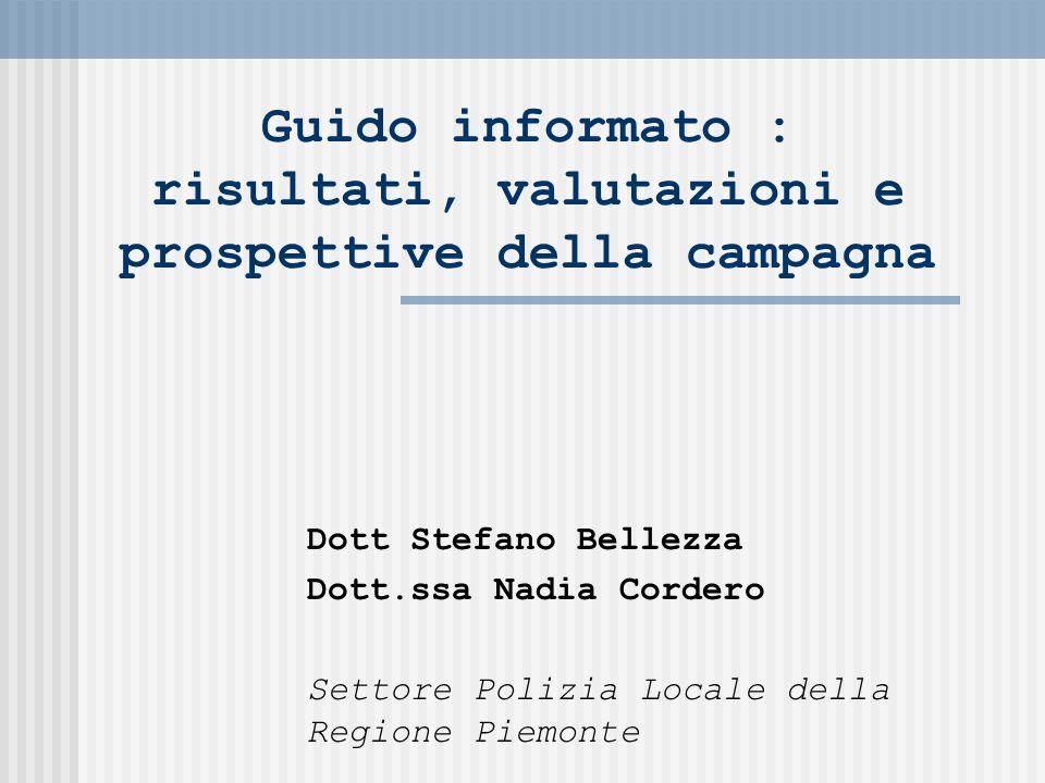 Guido informato : risultati, valutazioni e prospettive della campagna Dott Stefano Bellezza Dott.ssa Nadia Cordero Settore Polizia Locale della Regione Piemonte
