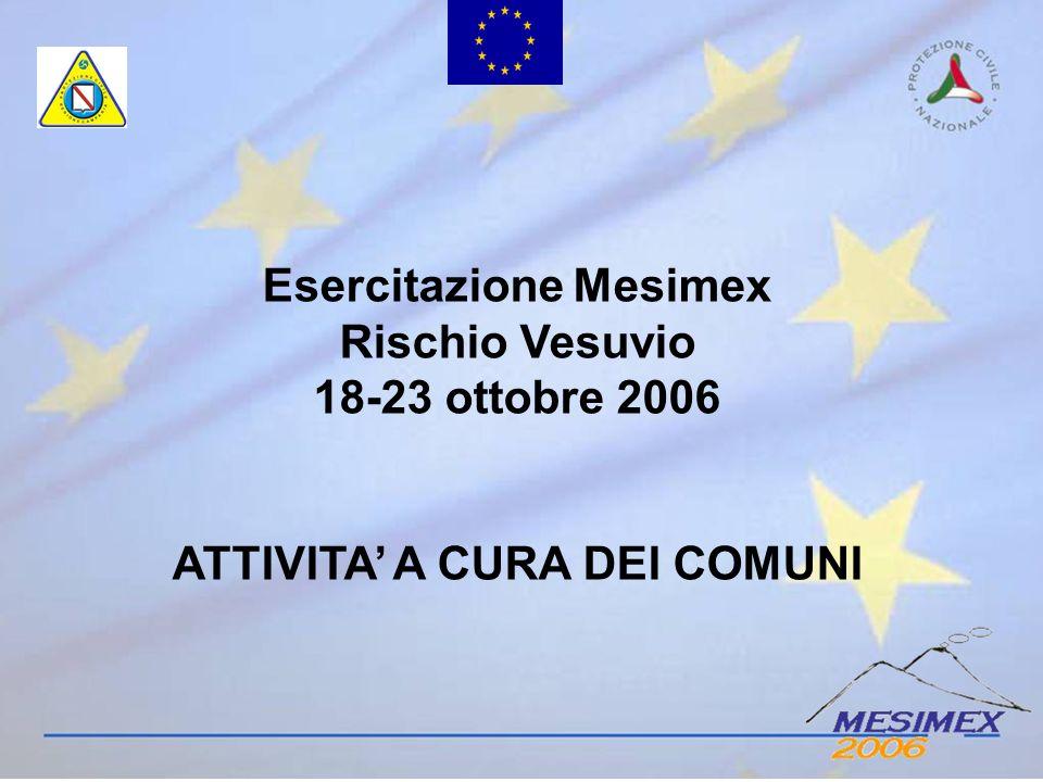 Esercitazione Mesimex Rischio Vesuvio 18-23 ottobre 2006 ATTIVITA A CURA DEI COMUNI
