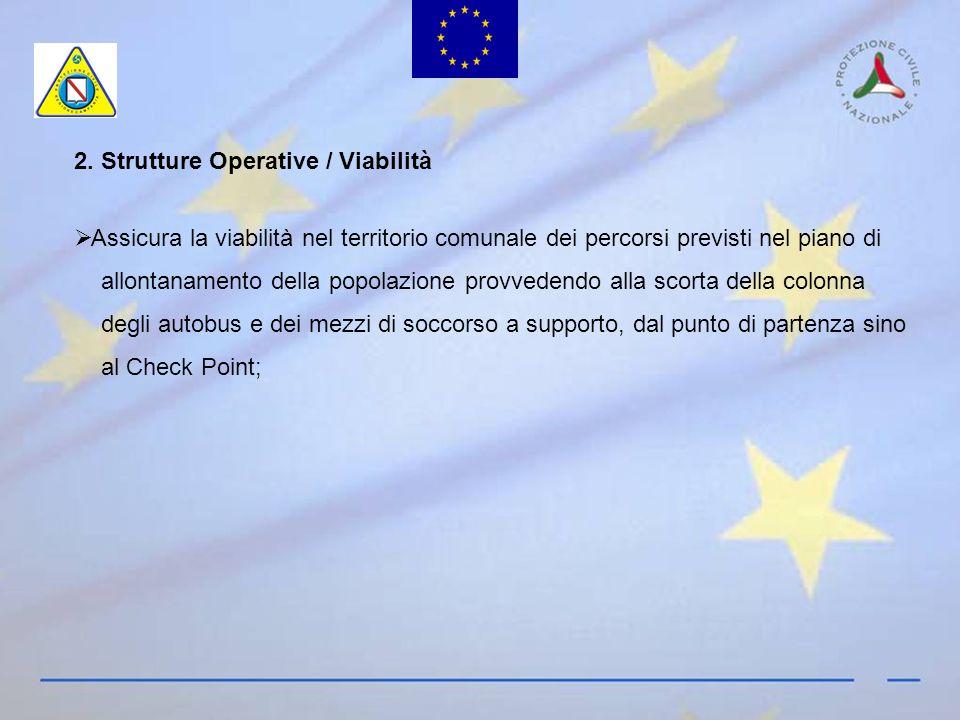 2. Strutture Operative / Viabilità Assicura la viabilità nel territorio comunale dei percorsi previsti nel piano di allontanamento della popolazione p