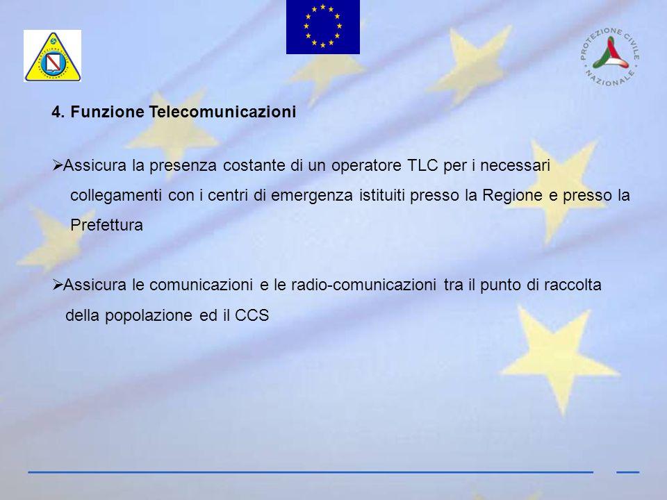 4. Funzione Telecomunicazioni Assicura la presenza costante di un operatore TLC per i necessari collegamenti con i centri di emergenza istituiti press